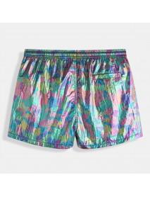 ChArmkpR Irregular Reflective Color Block Grid Lining Board Shorts