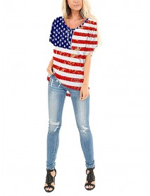 American Flag Star Print Independence Day Crew Neck Women Casual T-shirts For Women