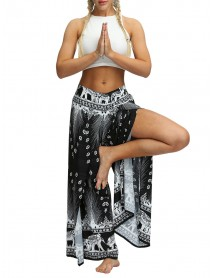 Bohemian Print High Waist Side Split Loose Yoga Wide Leg Pants