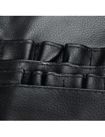 Black PU Makeup Brush Bag Unilateral Makeup Artist Storage Cosmetic Bag
