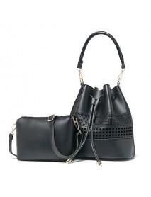 2 PCS Women Geometric Bucket Bag National Hollow Crossbody Bag