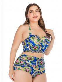 Blue Plus Size Floral Printed Push Up Back Closure Halter Bikini