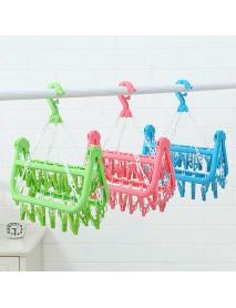 32Clip Portable Socks Cloth Hanger Rack Clothespin Multifunctional Drying RackSock Holder