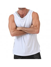 Fashion Men's Irregular Front Rear Side Zipper Solid Color Personality Tank Tops