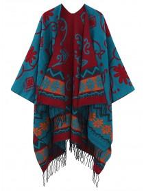 Bohemian Floral Pattern Tassel Reversible Shawl Wrap