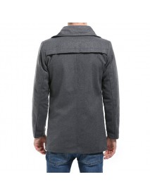 Large Lapel Design Fashion Long Style Men's Trench Coat Pure Color Long Sleeve Casual Jacket