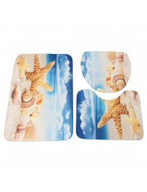 45x75cm 3pcs Bathroom Mat Set Beach Starfish Sea Shell Pattern Bath Anti Slip Toilet Cover Pedestal Rug Bath Mat