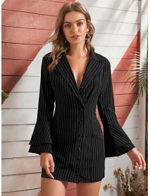 Striped Lapel Long Bell Sleeve Casual Blazers For Women