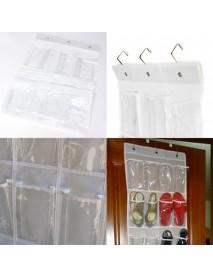24Pocket Hanging Over Door Stainless Steel Holder Shoes Nonwoven Fabric Organizer Storage Door Wall Closet Bag