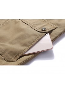 Mens Cotton Multi Pocket Vest Summer V-neck Casual Thin Sleeveless Jacket