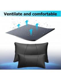 Car Headrest Lumbar Waist Seat Pillow PU Leather Travel Soft Cushion Support