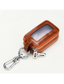 Genuine Leather Car Key Case Key Bag Chain Holder Zipper Key Pouch for Men Women
