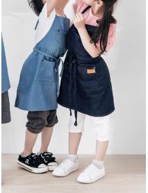 Children Gardening Cooking Cotton Linen Aprons Denim Dress with Pockets