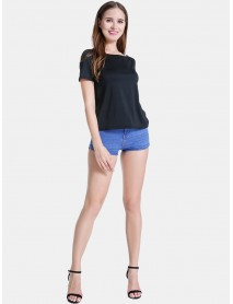 Backless Casual O Neck Short Sleeve T-shirts