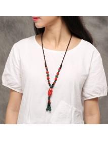 Ethnic Ceramic Beads Tassel Pendant Necklace Ethnic Adjustable Long Necklace for Women