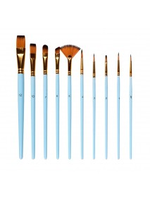 10 Pcs Painting Brush Mixed Head Nylon Brush Combination Set Oil Painting Profession Art Supplies