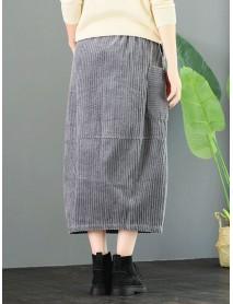 Corduroy Elastic Waist Loose Solid Vintage Skirts