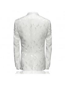 Formal Men Turn-down Collar Printing Long Sleeve V-Neck Suits Coat