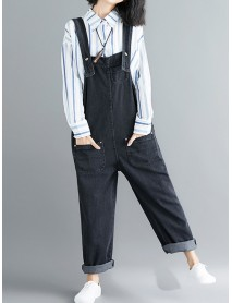 Plus Size Sleeveless Strappy Denim Jumpsuit With Pockets