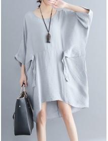 Women Fashion Batwing Sleeves Cotton Linen Mini Dress