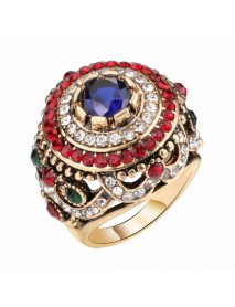 Bohemian Gold Plated Finger Ring Opal Blue Resin Crystal Hollow Rings Ethnic Gift for Women