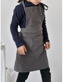 Children Girls Japanese Style Gardening Cooking Cotton Linen Aprons Dress with Pockets
