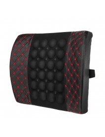 12V Electric PU Leather Lumbar Massager Pad Pillow Waist Support Car Home Office Heated Cushion