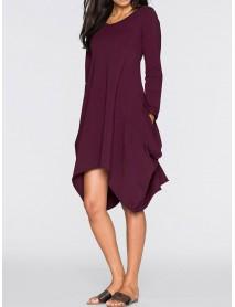 Women Casual O-neck Long Sleeves Solid Color Asymmetrical Short Dress