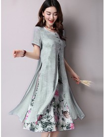 Elegant Women Floral Printed Dress Two Layers High Split Dresses