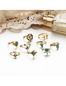 9 Pcs Vintage Statement Ring Set Helm Leaf Knuckle Rings Bohemian Jewelry for Women