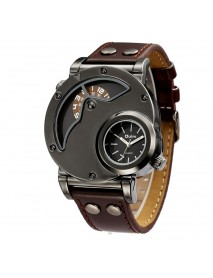 OULM 9591 Casual Style Creative Wrist Watch Dual Time Zones Leather Strap Quartz Watches