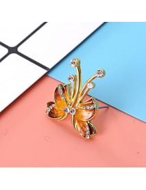 Luxury Butterfly Gold Earring Sweet Ceramic Rhinestones Crystal Ear Stud Gift for Women