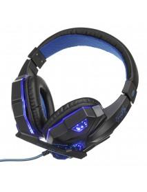 3.5mm USB Gaming Headset Bass Headphone Cool LED Light Over Ear Stereo Headphone