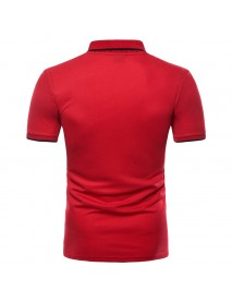 Fashion Men's Lapel Short Sleeved Golf Shirt Summer Chest Pocket Casual Tops Tees