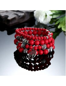 Bohemian Hollow Tree of Life Elastic Beads Multilayer Bangle Bracelet Gift for Women