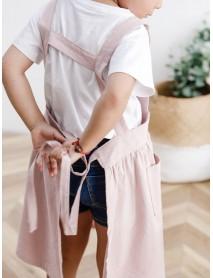 Children Girls Japanese Style Gardening Cooking Cotton Linen Aprons Pockets Dress