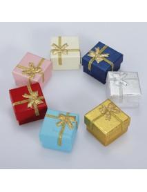 24pcs Bowknot Cube Jewelry Ring Earring Box Gift Box Hard Paper