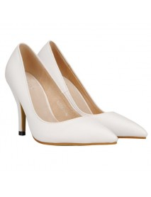 OL Stiletto PU Pointed Toe Pure Color Pumps